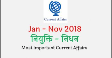 Appointment and Death Current Affairs 2018