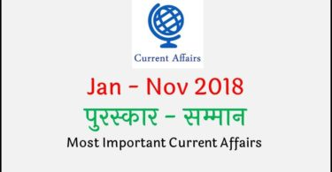 Awards and Honors Current Affairs 2018 in Hindi